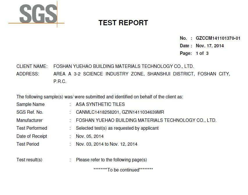 SGS AGING TEST