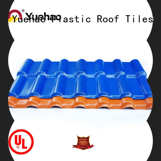 Yuehao plastic roof tiles wholesaler tiles lightweight plastic roof tiles design for water draining