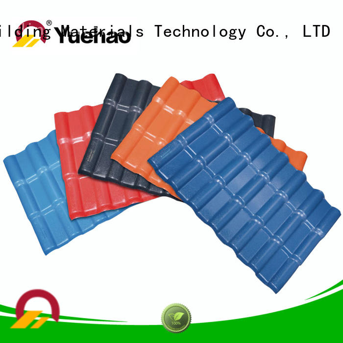 Yuehao plastic roof tiles wholesaler light corrugated pvc panels factory for dormer clapping