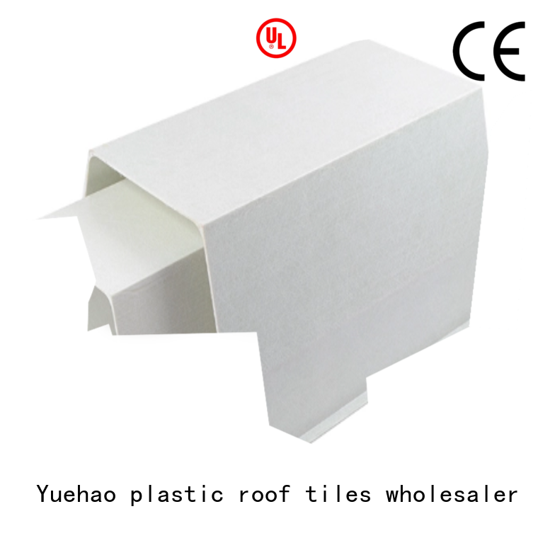 water installing plastic gutters and downspouts from China for water draining Yuehao plastic roof tiles wholesaler